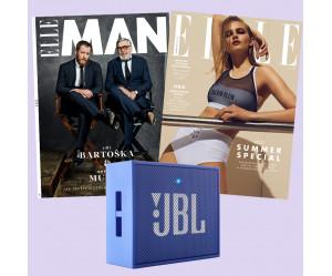 Duo předplatné ELLE (12 vydání) & ELLE Man (2 vydání) + reproduktor JBL GO modrý